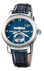 Ulysse Nardin Anniversary 160 Blue Dial 18Kt White Gold Blue Leather Men's Watch 1600-100