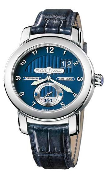Ulysse Nardin Anniversary 160 Blue Dial 18Kt White Gold Blue Leather Men's Watch