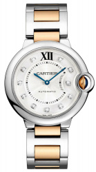 Cartier Ballon Blue 33mm Stainless Steel 18k Rose Gold Diamond Dial  WE902061
