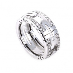 Parentesi Diamond Pave White Gold Band