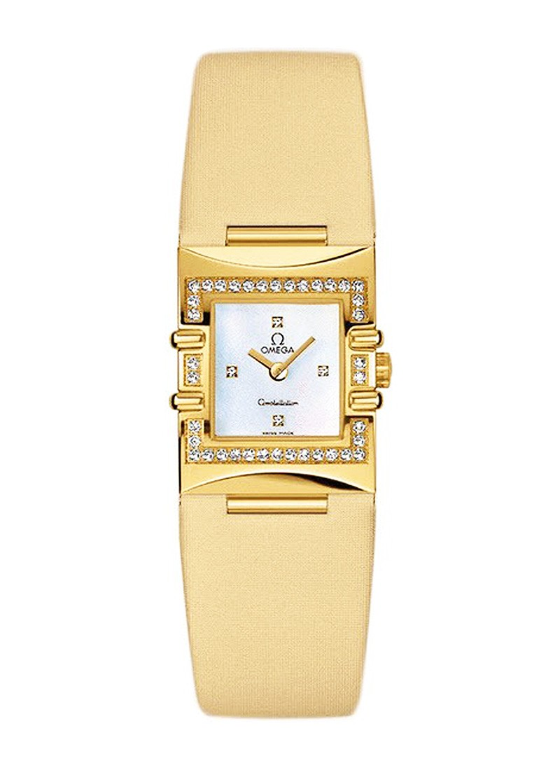Omega Constellation Quadra ladies quartz in yellow gold with diamond bezel
