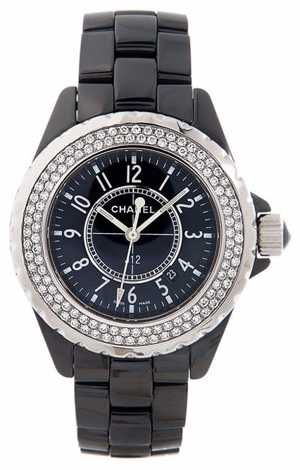 CHANEL Black Dial, Diamond Bezel, Ceramic on bracelet / Quartz